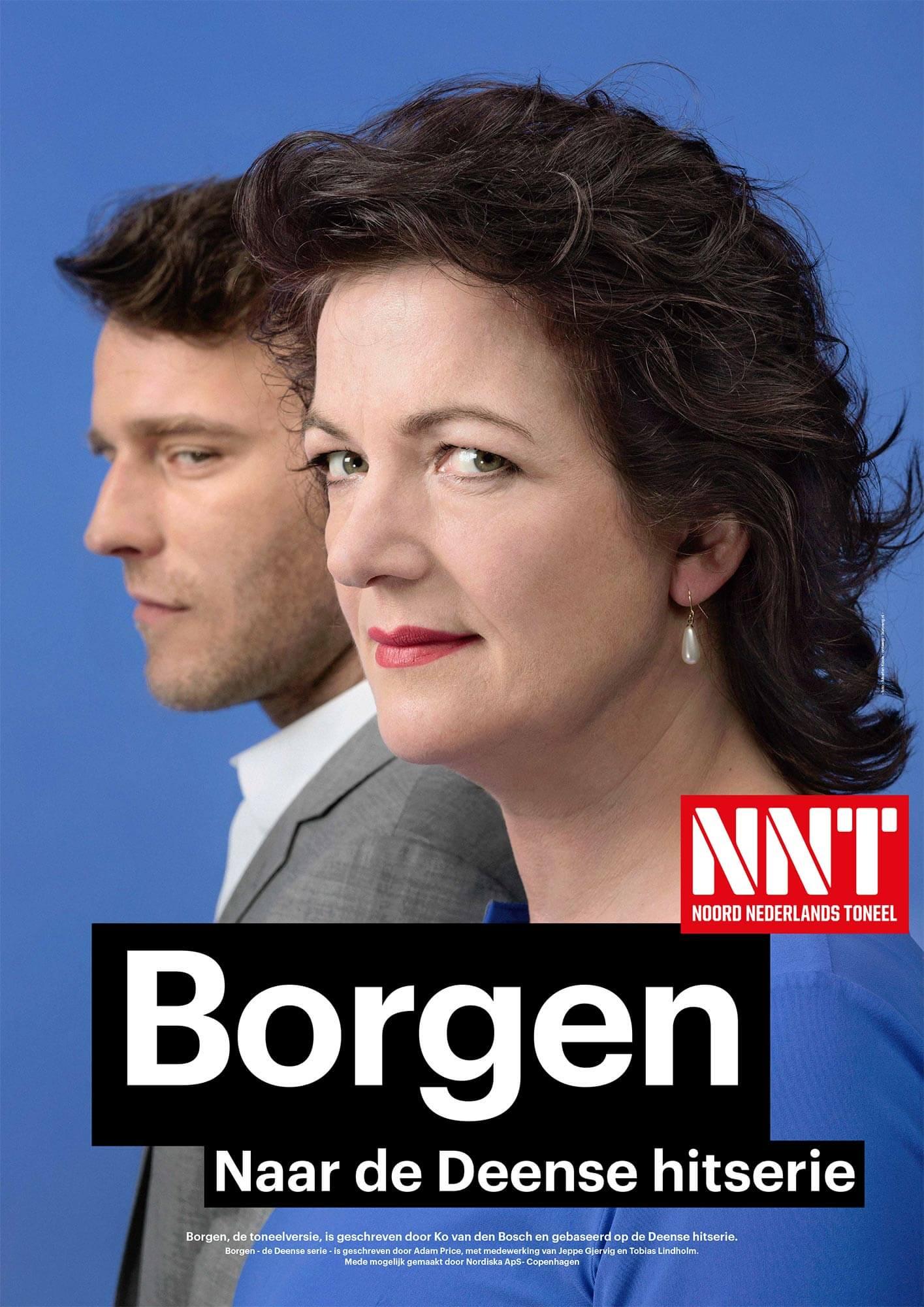 Campagne NNT Borgen campagne affiche Malou Gorter en Peter Vandemeulebroecke